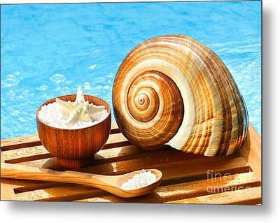 Bath Salts And Sea Shell By The Pool Metal Print by Sandra Cunningham