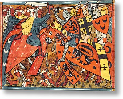 Battle Between Crusaders And Muslims Metal Print by French School