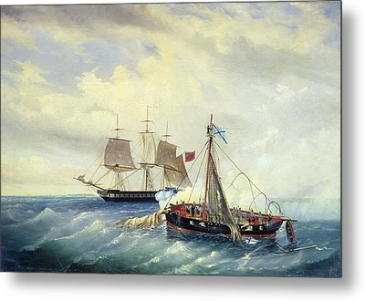 Battle Between The Russian Ship Opyt And A British Frigate Off The Coast Of Nargen Island  Metal Print by Leonid Demyanovich Blinov