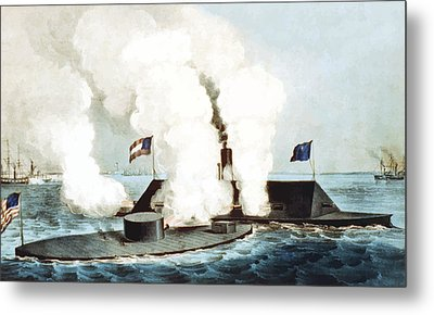 Battle Of The Monitor And Merrimack Metal Print by War Is Hell Store