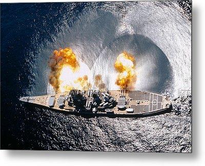 Battleship Iowa Firing All Guns Metal Print by Stocktrek Images