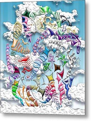 Battling Kites -- Blue Metal Print by Mark Sellers