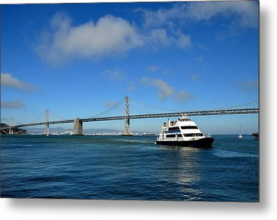 Bay Bridge Ship San Francisco Metal Print by Andrew Dinh