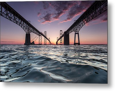 Bay Bridge Twilight Metal Print by Jennifer Casey