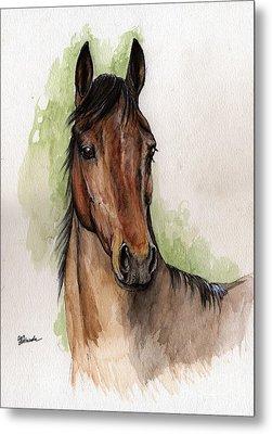 Bay Horse Portrait Watercolor Painting 02 2013 Metal Print by Angel  Tarantella
