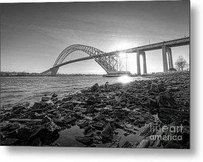 Bayonne Bridge Black And White Metal Print by Michael Ver Sprill