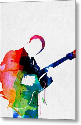 B.b. King Watercolor Metal Print by Naxart Studio