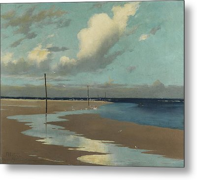 Beach At Low Tide Metal Print by Frederick Milner