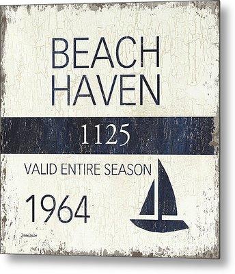Beach Badge Beach Haven Metal Print by Debbie DeWitt