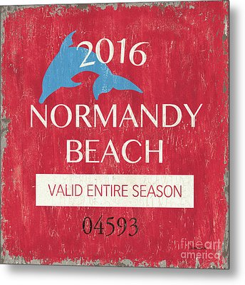 Beach Badge Normandy Beach Metal Print by Debbie DeWitt