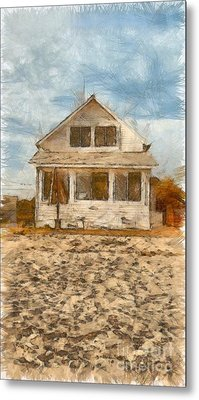 Beach Cottage Pencil Metal Print by Edward Fielding