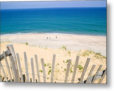 beach fence and ocean Cape Cod Metal Print by Matt Suess