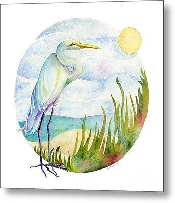 Beach Heron Metal Print by Amy Kirkpatrick