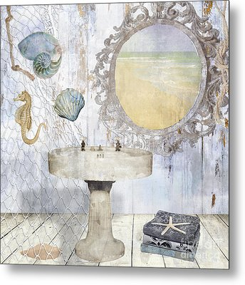 Beach House Bath II Metal Print by Mindy Sommers