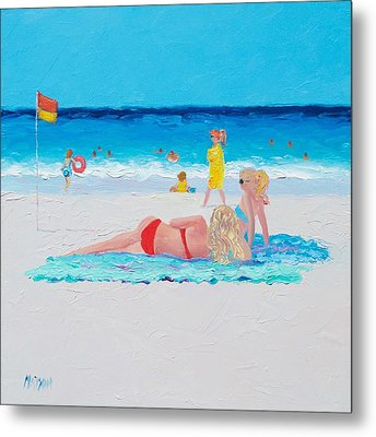 Beach Painting - A Lazy Day Metal Print by Jan Matson