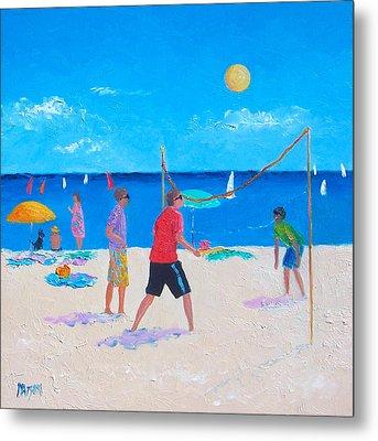 Beach Painting Beach Volleyball  By Jan Matson Metal Print by Jan Matson