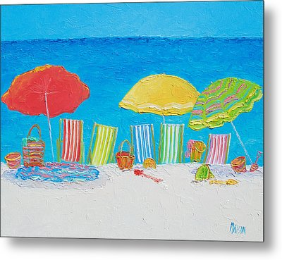 Beach Painting - Deck Chairs Metal Print by Jan Matson