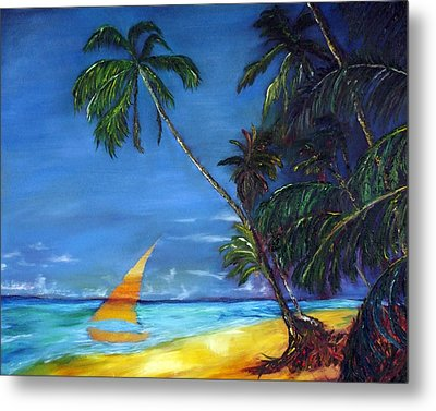 Beach Palm Sailboat Metal Print by Gregory Allen Page