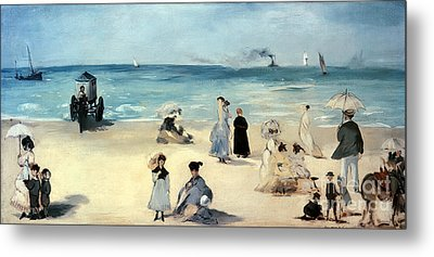 Beach Scene Metal Print by Edouard Manet