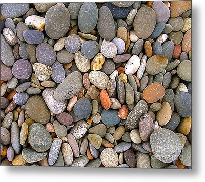 Beach Stones And Pebbles Metal Print by Sophie De Roumanie