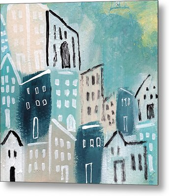 Beach Town- Art By Linda Woods Metal Print by Linda Woods