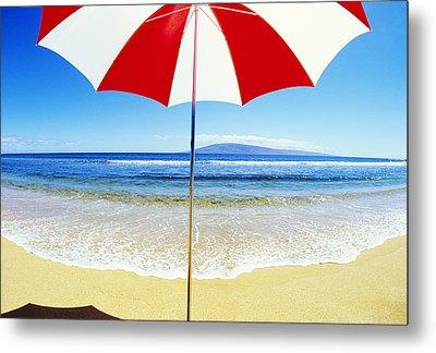 Beach Umbrella Metal Print by Carl Shaneff - Printscapes