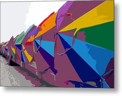 Beach Umbrella Row Metal Print by David Lee Thompson