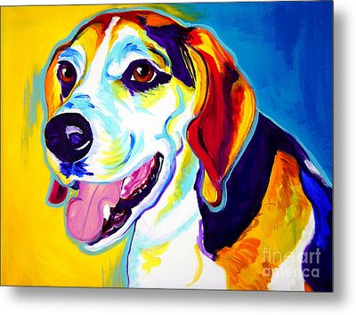 Beagle - Lou Metal Print by Alicia VanNoy Call