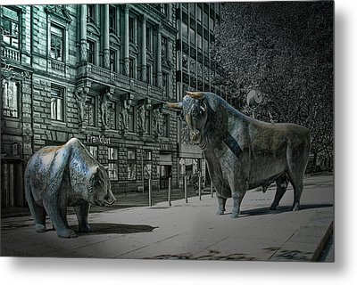 bear and bull Frankfurt Metal Print by Joachim G Pinkawa