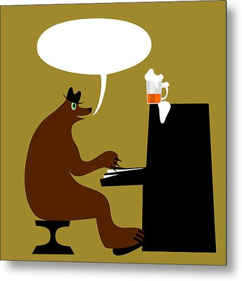 Bear By Piano  Metal Print by Lenka Rottova