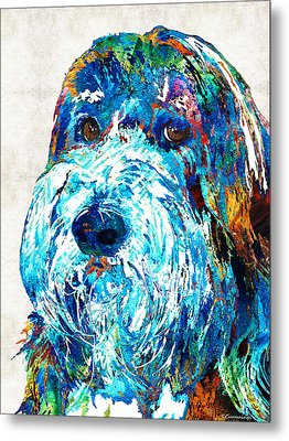Bearded Collie Art 2 - Dog Portrait By Sharon Cummings Metal Print by Sharon Cummings