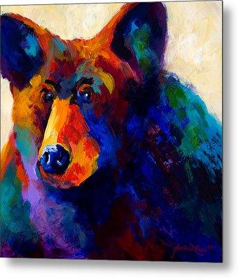 Beary Nice - Black Bear Metal Print by Marion Rose