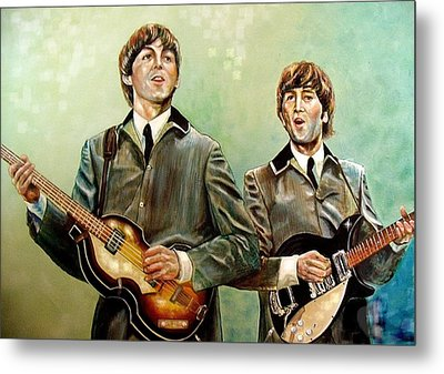 Beatles Paul And John Metal Print by Leland Castro