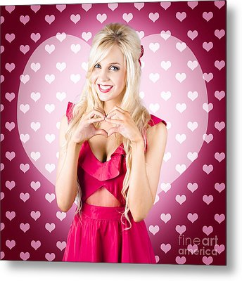 Beautiful Blonde Woman Gesturing Heart Shape Metal Print by Ryan Jorgensen