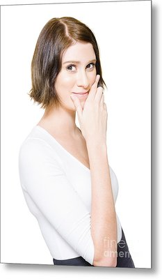 Beautiful Business Woman Putting On A Happy Face Metal Print by Jorgo Photography - Wall Art Gallery
