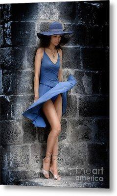 Beautiful Romantic Woman Standing Near A Stone Wall Metal Print by Oleksiy Maksymenko
