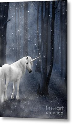 Beautiful Unicorn In Snowy Forest Metal Print by Ethiriel  Photography