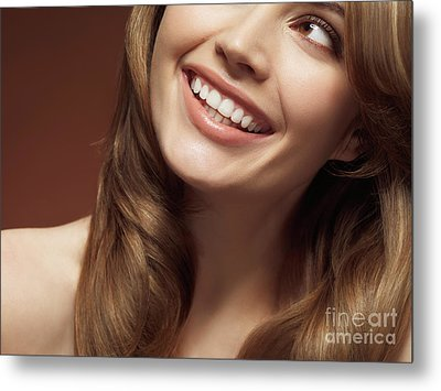 Beautiful Young Smiling Woman Metal Print by Oleksiy Maksymenko