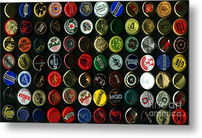 Beer Bottle Caps . 9 To 16 Proportion Metal Print by Wingsdomain Art and Photography