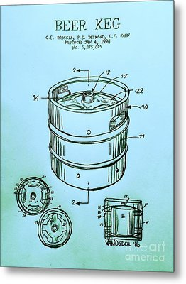 Beer Keg 1994 Patent - Blue Metal Print by Scott D Van Osdol