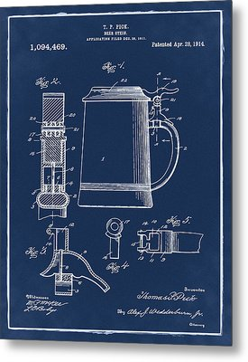 Beer Stein Patent 1914 In Blue Metal Print by Bill Cannon