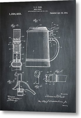 Beer Stein Patent 1914 In Chalk Metal Print by Digital Reproductions