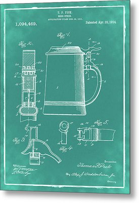 Beer Stein Patent 1914 In Green Metal Print by Digital Reproductions