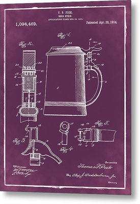 Beer Stein Patent 1914 In Red Metal Print by Digital Reproductions