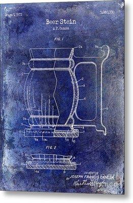 Beer Stein Patent Blue Metal Print by Jon Neidert