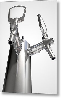 Beer Tap Dual Isolated Metal Print by Allan Swart