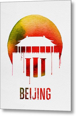 Beijing Landmark Red Metal Print by Naxart Studio