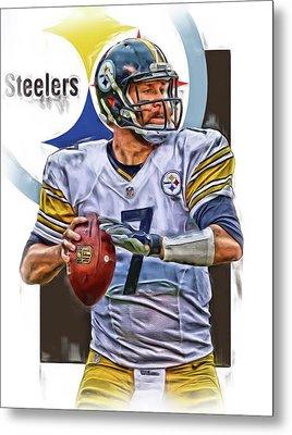 Ben Roethlisberger Pittsburgh Steelers Oil Art Metal Print by Joe Hamilton
