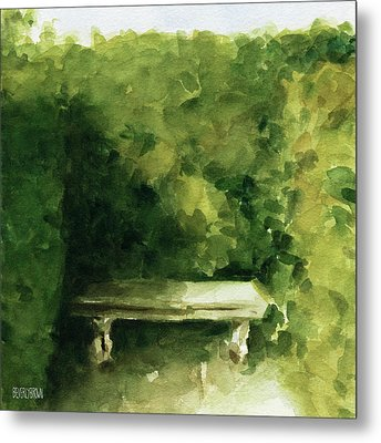 Bench Parc De Bagatelle Paris Metal Print by Beverly Brown