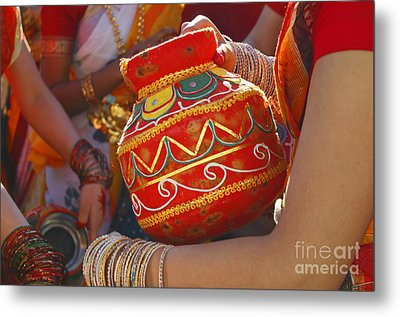 Bengali Maiden Dancers With Water Jars Metal Print by Charline Xia